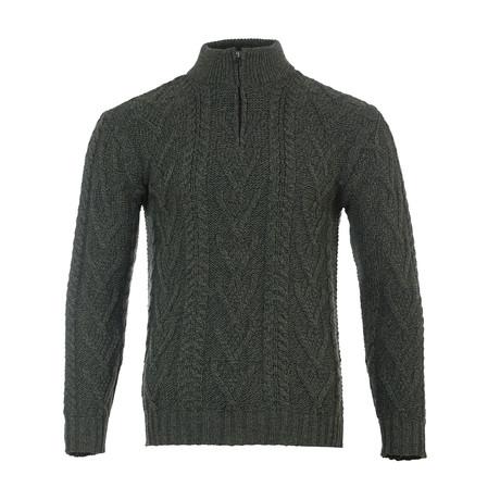 Zip Neck Fisherman Sweater // Army Green (Small)