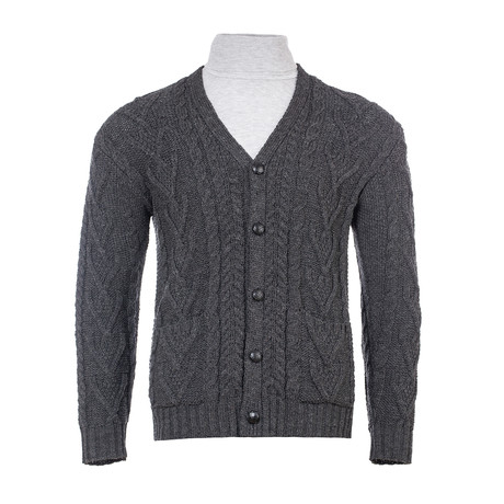 V Neck Cable Cardigan // Charcoal (Small)