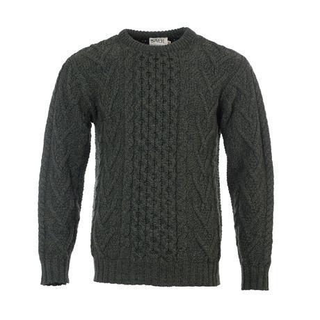 Merino Aran Sweater // Army Green (Small)