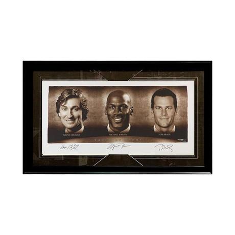 Wayne Gretzky + Michael Jordan + Tom Brady // Framed Autographed Display (#23/100)