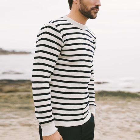 Heritage Fisherman Sweater // White + Rich Navy (S)