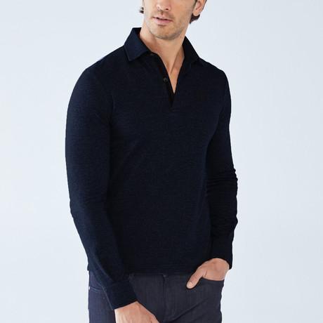 Cesar Long-Sleeve Polo // Navy (S)