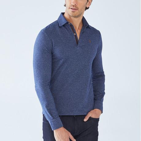 Cesar Long-Sleeve Polo // Indigo (S)