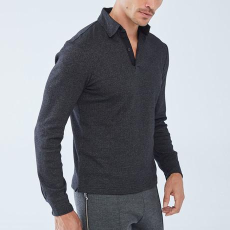 Charles Long-Sleeve Polo // Black (S)