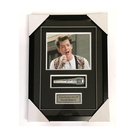 Matthew Broderick // Framed Autographed Microphone + Photo