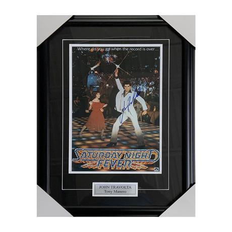 John Travolta // 'Saturday Night Fever' // Autographed Poster Display