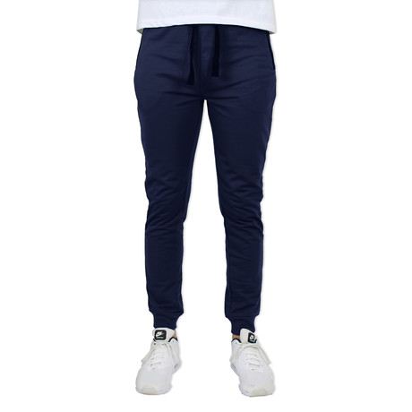 French Terry Slim Fit Zipper Pocket Joggers // Navy (S)