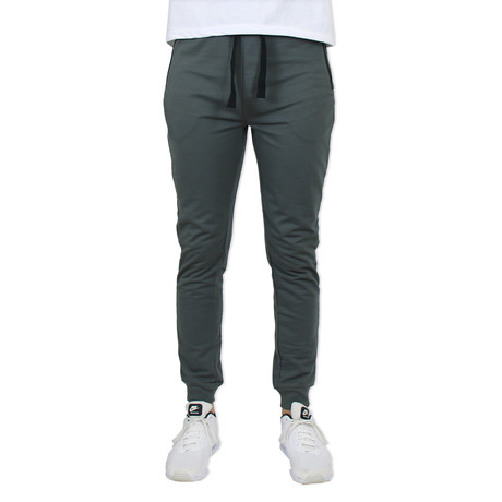 French Terry Slim Fit Zipper Pocket Joggers // Charcoal (S)
