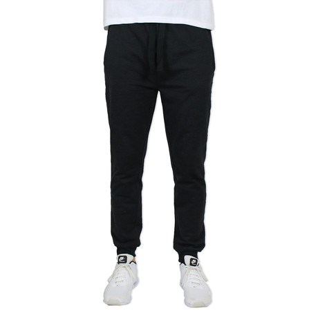 French Terry Slim Fit Zipper Pocket Joggers // Black (S)