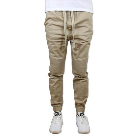 Cotton Twill Moto Joggers // Khaki (S)