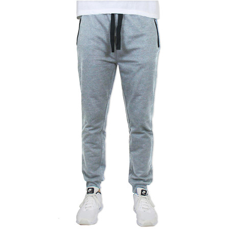 French Terry Slim Fit Zipper Pocket Joggers // Heather Gray (S)