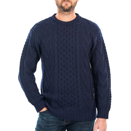 Merino Aran Sweater // Navy (Small)