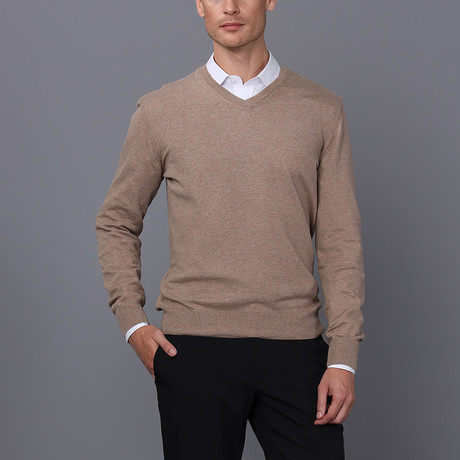 Jacob V-Neck Pullover // Light Brown Melange (S)