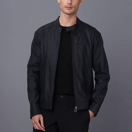 Jeremiah Leather Jacket // Navy Tafta (S)
