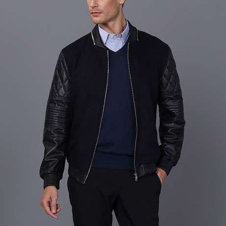 Levy Leather Jacket // Navy (S)