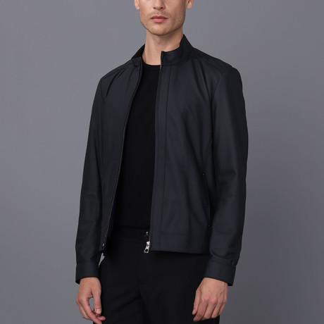 Mateo Leather Jacket // Navy Tafta (S)
