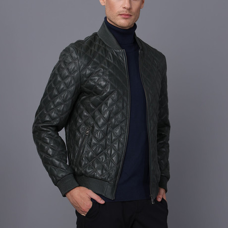 Isaac Leather Jacket // Green (S)