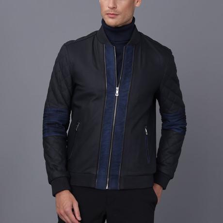 Julian Leather Jacket // Navy Tafta (S)
