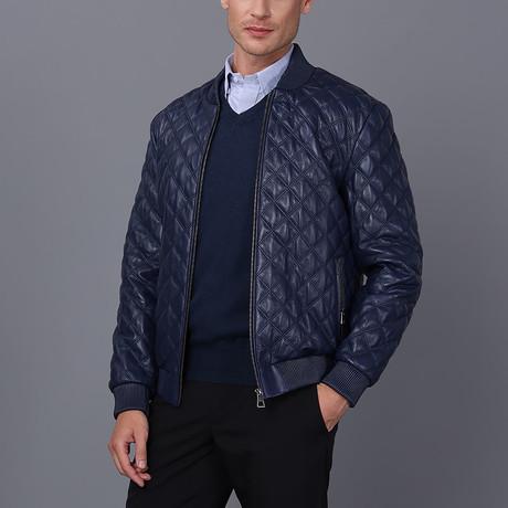 Luke Leather Jacket // Dark Blue (S)