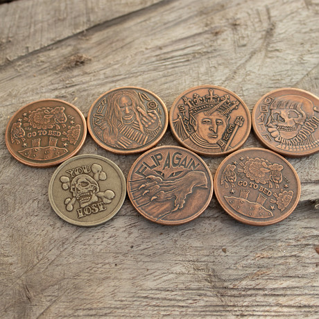 Decision Maker Flipping Coins // Set of 7 Coins