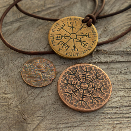 Viking Necklace and Coin Bundle // Vegvisir Necklace + Helm of Awe Coin + Vinland Coin