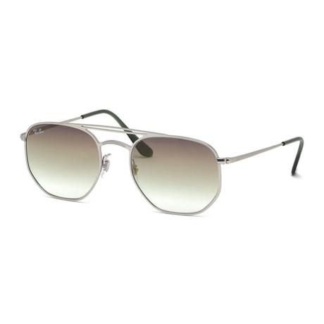 Men's Square Geometric Aviator Sunglasses // Silver + Brown Gradient