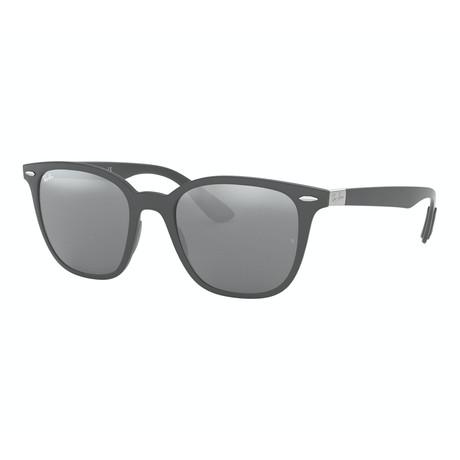 Men's Square Sunglasses // Matte Dark Gray + Gray Mirror + Silver Gradient