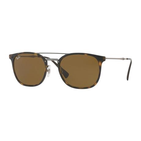Men's Square Double Bridge Sunglasses // Havana + Dark Brown