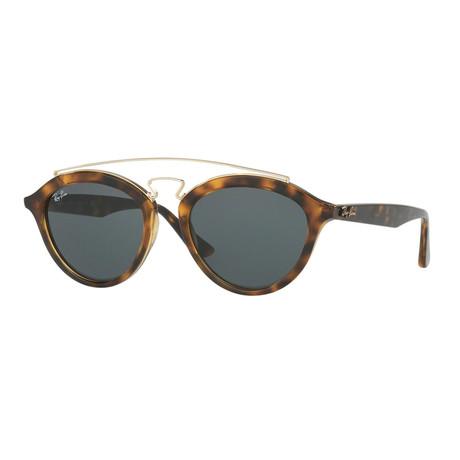 Men's Gatsby Oval Double Bridge Sunglasses // Tortoise + Green