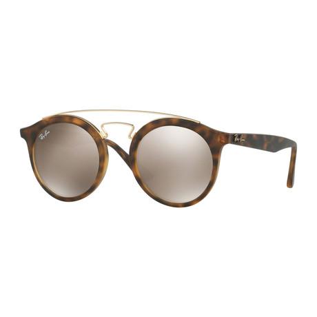 Unisex Gatsby Sunglasses // Havana + Light Brown Mirror + Gold