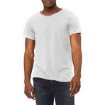 Ultra Soft Sueded Raw Hem T-Shirts // White (L)