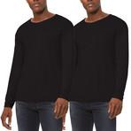 Ultra Soft Sueded Raw Hem Long-Sleeve Shirt // Black // Pack of 2 (L)