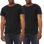 Ultra Soft Sueded Raw Hem T-Shirts // Black // Pack of 2 (S)