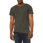 Ultra Soft Sueded Raw Hem T-Shirts // Military Green (S)