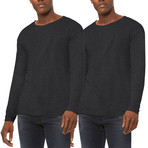 Ultra Soft Sueded Raw Hem Long-Sleeve Shirt // Charcoal // Pack of 2 (L)