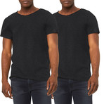 Ultra Soft Sueded Raw Hem T-Shirts // Charcoal // Pack of 2 (XL)