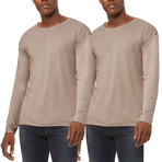 Ultra Soft Sueded Raw Hem Long-Sleeve Shirt // Sand // Pack of 2 (S)