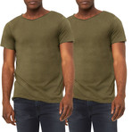 Ultra Soft Sueded Raw Hem T-Shirts // Olive // Pack of 2 (M)