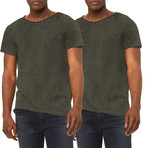 Ultra Soft Sueded Raw Hem T-Shirts // Military Green // Pack of 2 (L)