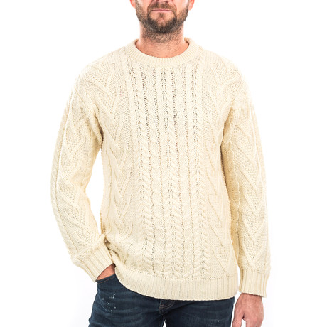 Traditional Aran Crew Neck Sweater // Natural (Small)