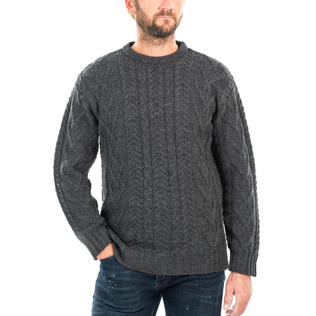 Traditional Aran Crew Neck Sweater // Charcoal (Small)