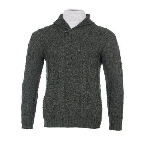 Shawl Collar Single Button Sweater // Army Green (Small)