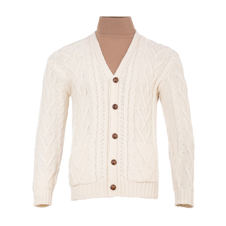 V Neck Cable Cardigan // Natural (Small)