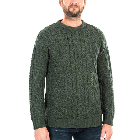 Traditional Aran Crew Neck Sweater // Army Green (Small)