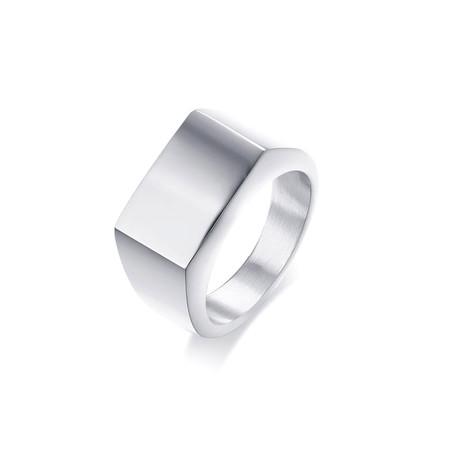 Rectangular Signet Ring// White (Size 7)