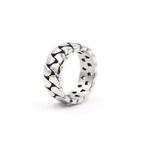 Curb Link Chain Ring // White (Size 7)
