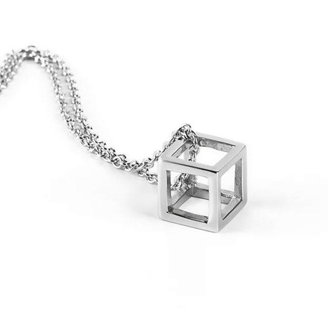 Stainless Steel Cube Necklace// White