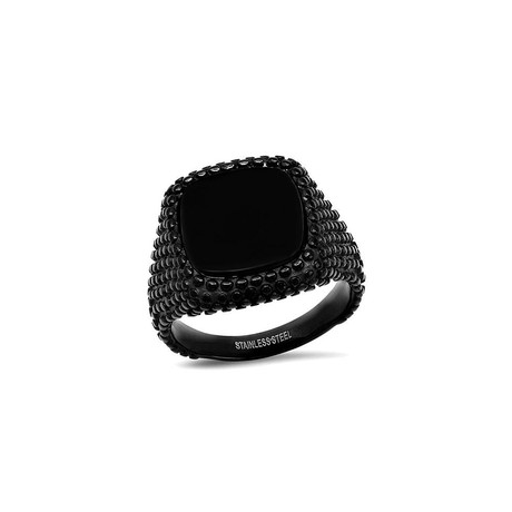 Enamel Square Dotted Signet Ring // Black (Size 9)