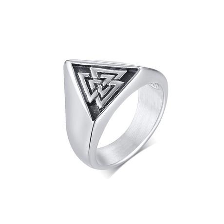 Triangle Viking Signet Ring // White (Size 7)