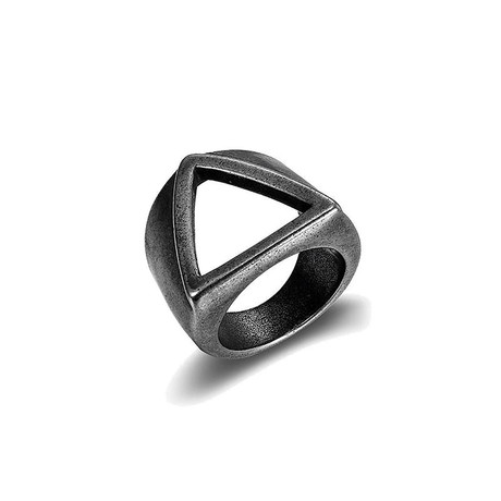 Aged Triangle Band Signet Ring // White (Size 7)